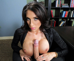 Busty MILF secretary sucks big long..