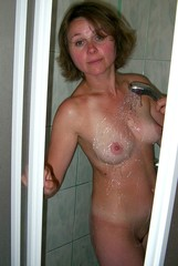 Naked housewife shower